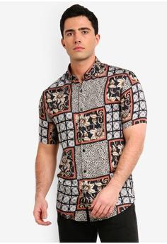 9bccf99f8ec6e2 River Island black Animal Tile Rev Shirt F8D5EAA7A45E87GS 1