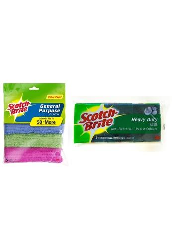 Scotch-Brite 3M Scotch Brite General Purpose Cloth Value Pack + Anti Bacterial Scrub Sponge (Combo Set) 2FBDEESA1053DBGS_1
