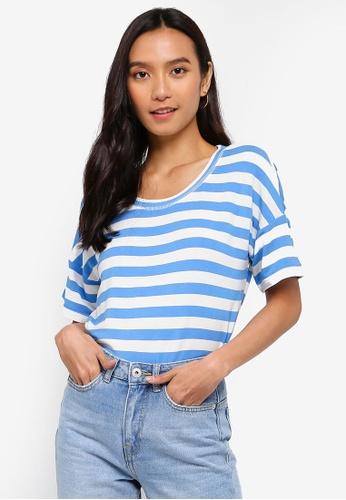 ICHI blue Grass Stripe T-Shirt 2FED0AA9B4EB20GS_1