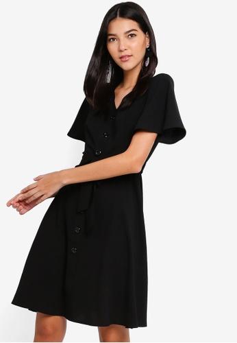 ZALORA black Button Detail Belted Dress D0EE5AAE3BA1F4GS_1