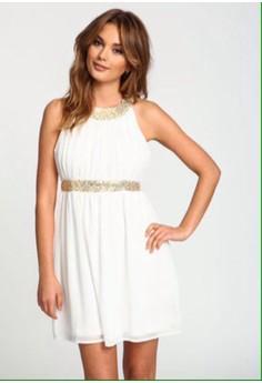 ANA WHITE GOLD SEQUIN DRESS
