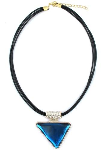 YOUNIQ blue and gold YOUNIQ-Basic Big Triangle Gemstone Geometric Statement Necklace (Blue) YO999AC81TFEMY_1