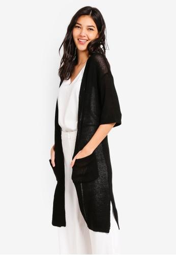 ZALORA black Longline Textured Cardigan 2F39AAA76FFF24GS_1