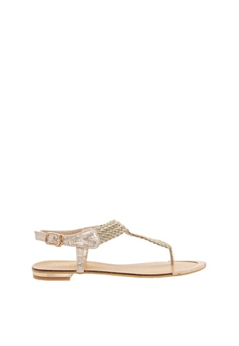 SEMBONIA gold SEMBONIA Synthetic Leather Flat Sandal (Gold) 0DD47SHF715355GS_1