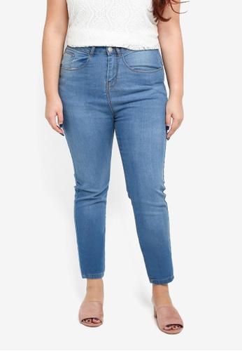 Dorothy Perkins blue Plus Size Skinny Jeans Midwash E8852AA43A2530GS_1