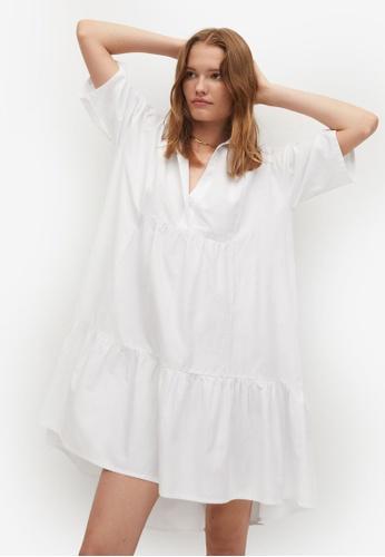 Mango white Ruched Shirt Dress 4E1AEAA68AF959GS_1