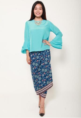 Naphthys Collection blue and multi Batik Skirt/Sarong 069DFAA7C7B20DGS_1