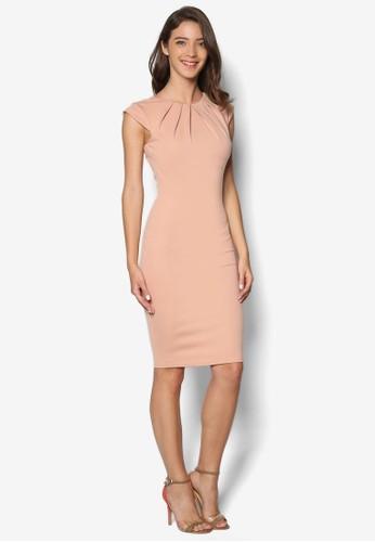 褶飾圓領連身裙, 服esprit sg飾, 洋裝