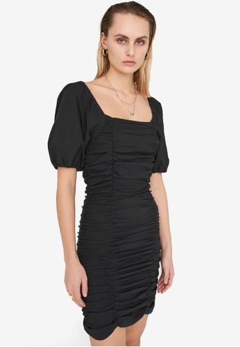 Noisy May black Marla Short Sleeve Fitted Dress 8F98EAA5DC0DBBGS_1