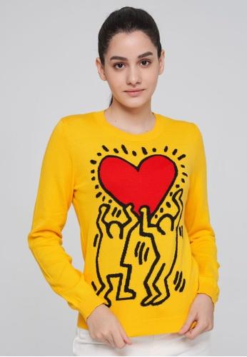United Colors of Benetton 黃色 KEITH HARING塗鴉風針織上衣 B5C99AAD302D99GS_1