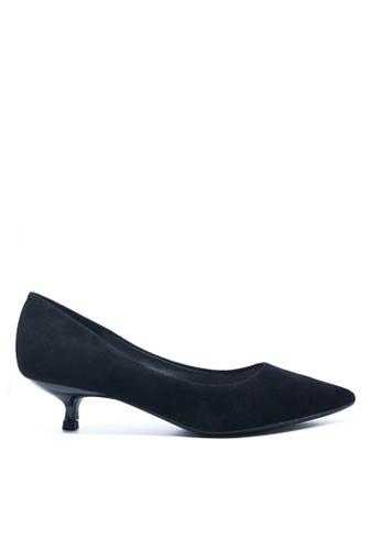 Twenty Eight Shoes 黑色 3.5CM尖頭絨面高踭鞋295-1 77E92SH752D94FGS_1