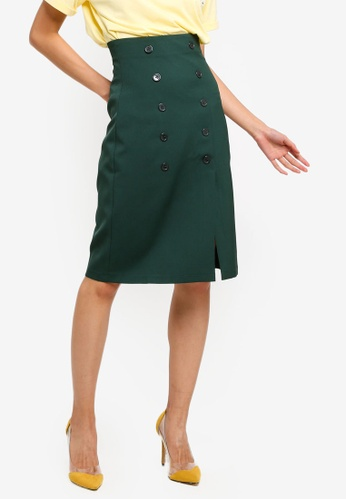 ZALORA 綠色 鈕釦裙 D7727AAFD7A0BFGS_1