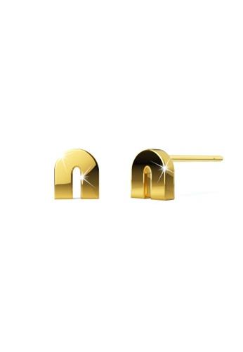 Bullion Gold gold BULLION GOLD Bold Initial Alphabet Letter Earrings Gold Layered Steel Jewellery- N 6F8D4AC66E14F2GS_1