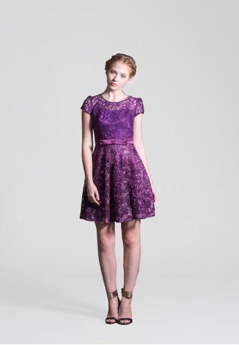 氣質小花亮片蕾絲拼接蝴蝶結腰版小禮服, 服esprit衣服目錄飾, 短洋裝