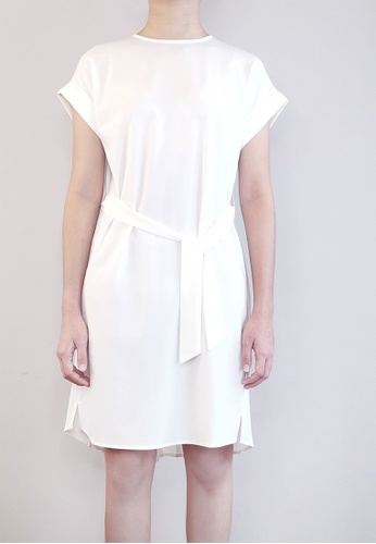 SUB white Women Pleated Detail Dress 67422AA6292F69GS_1
