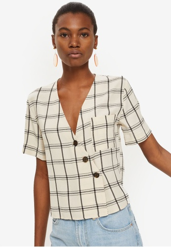 TOPSHOP white Check Asymmetric Shirt E09FBAA32450D6GS_1