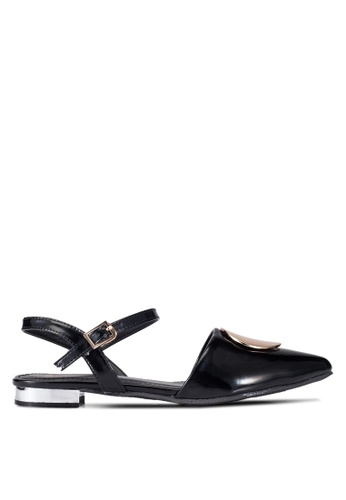 DMK black Buckled Pointed Flats DM860SH0RG1YMY_1