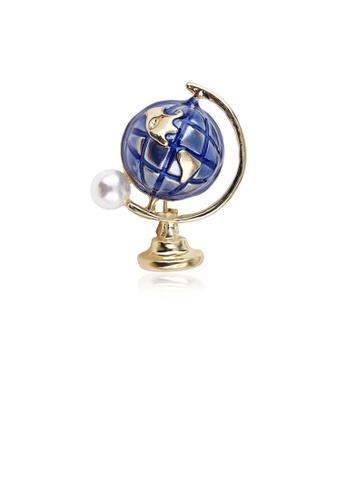 Glamorousky white Fashion Creative Plated Gold Globe Imitation Pearl Brooch 8082DAC4B288E0GS_1