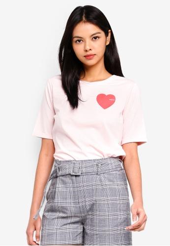 ESPRIT pink Heart Short Sleeve T-Shirt 6E241AA4D7B6AAGS_1