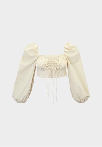 Pomelo beige Puffed Sleeve Crop Top - Beige CB225AA622B0D4GS_1