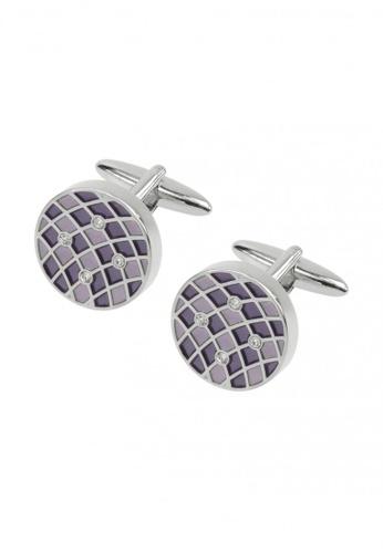 CUFF IT purple Purple Lattice Swarovski Crystal Round Cufflinks CU047AC38SHXHK_1