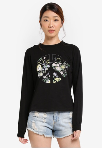 Something Borrowed black Graphic Sweater Top E874CZZ98C3C56GS_1