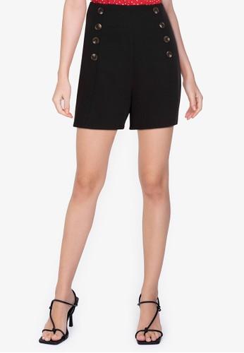 ZALORA WORK black Side Buttons Shorts AA2BAAAD0E4332GS_1
