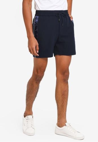 Topman 海軍藍色 綢緞滾邊運動短褲 6A6BAAA9F7AD97GS_1