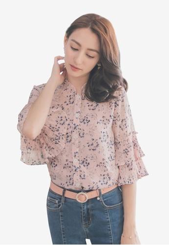 Yoco pink Floral Ruffle Sleeve Top 0C8DAAA66969A7GS_1
