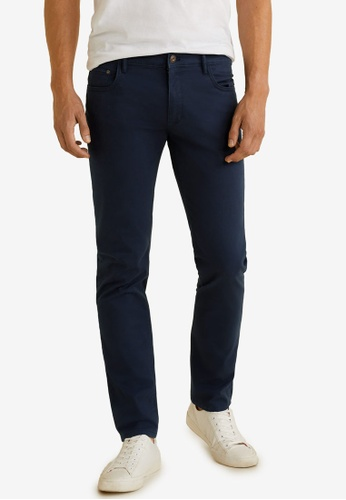 MANGO Man 藍色 Slim-Fit 5 Pocket Cotton Trousers 5F59BAA58D83ABGS_1
