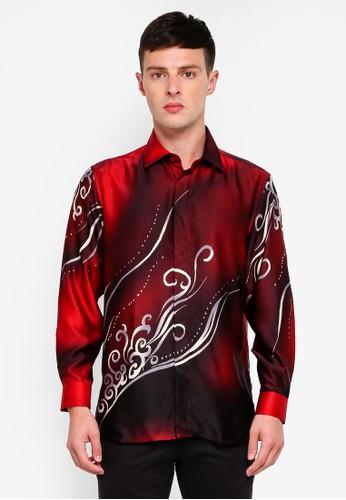Gene Martino red Long Sleeve Batik Shirt AC494AAD9FC87AGS_1