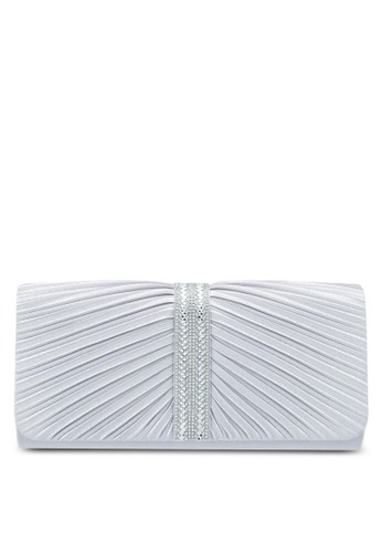 Unisa silver Pleated Dinner Clutch With Glittering Stones & Crystal Embellishment 0BEE6AC6A00F96GS_1