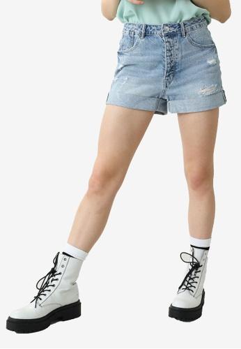 PIMKIE blue High Waist Denim Shorts E1DDEAADF9BB2DGS_1