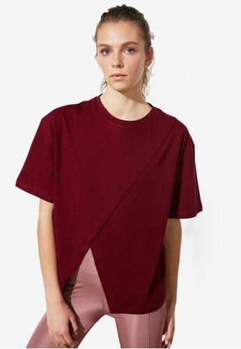 Trendyol purple Overlap Front T-Shirt 760A1AA780BCB9GS_1