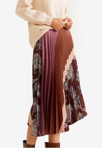 Mango brown Printed Pleated Skirt F4602AAA4F5F53GS_1