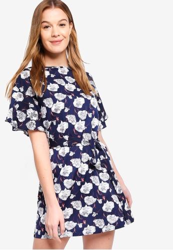 ZALORA multi Basic Ruffle Sleeves A-Line Dress 73B2EAA3B2A220GS_1