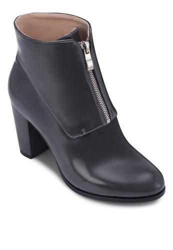 拉鍊zalora taiwan 時尚購物網粗跟高筒踝靴, 女鞋, 中跟