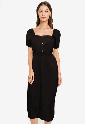 Cotton On black Woven Everly Short Sleeve Midi Corset Dress 849A4AA15666D1GS_1