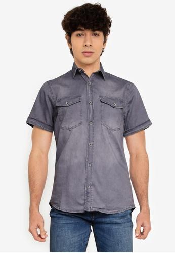 LC Waikiki grey Slim Fit Short Sleeve Jean Shirt C82EAAA6322DBDGS_1