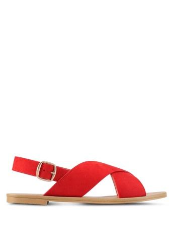 ZALORA red Cross Strap Sandals 4AB67SH25F23A6GS_1