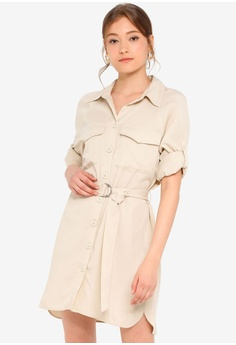 ccd98eec2a3f7 TOPSHOP beige Stone Utility Shirt Mini Dress 3BD97AA53E440AGS_1