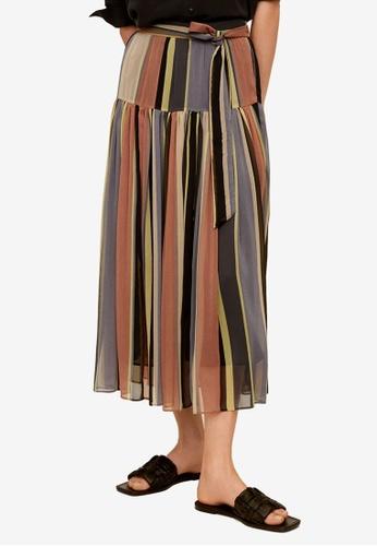Mango pink and multi Striped Midi Skirt F0606AA3E623EBGS_1