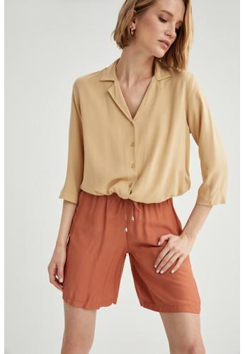 DeFacto beige Woman Woven Long Sleeve Shirt F1F74AA2DE0B44GS_1