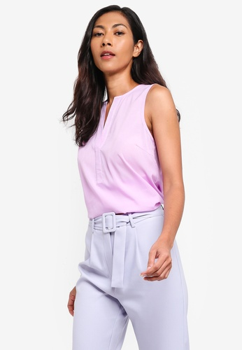 ZALORA BASICS purple Basic V-Neck Sleeveless Top B1EB6AA5E4D0FDGS_1