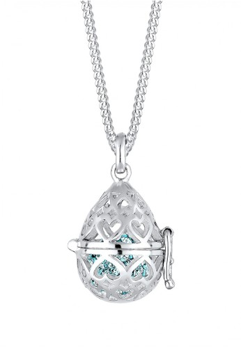 Elli Germany blue Perhiasan Wanita Perak Asli - Silver Kalung Ornament Heart Crystal EL948AC20EFRID_1