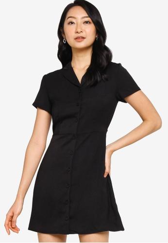 ZALORA BASICS black Revere Collar Button Through Shirt Dress 956F3AA8846899GS_1
