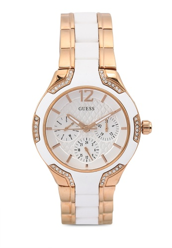 Guess Watches white and pink Rose Gold Tone Crystallized Steel Watch 97A12AC9E37AFCGS_1