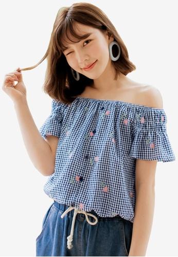 Tokichoi blue Check Print Off-Shoulder Top FD88CAA22D90A4GS_1