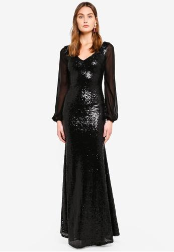 Goddiva black Sheer Sleeved Sequined Dress 06BC0AA401552AGS_1