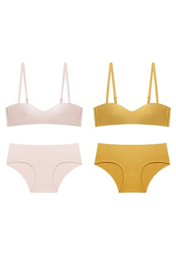 K.Excellence yellow Premium Comforn Pink&yellow Lingerie Set (Bra and Underwear) 744D7US1DB6F2EGS_1